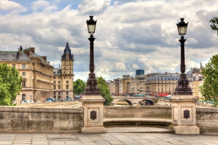 paris vintage: París paisaje urbano Vista desde el famoso Puente Nuevo con la tradicional farola Francia