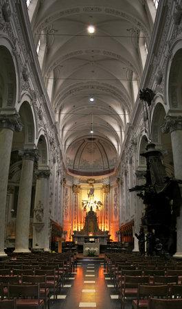 Vertical oriented image of catholic church in Brussels, Belgium  Editorial