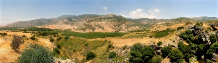 israeli: Panoramic view on yellow hills on Golan Heights in Israel