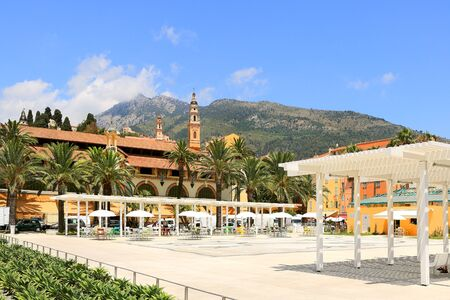 View on central plaza and old town of Menton on French Riviera in France  Stock Photo - 14581421