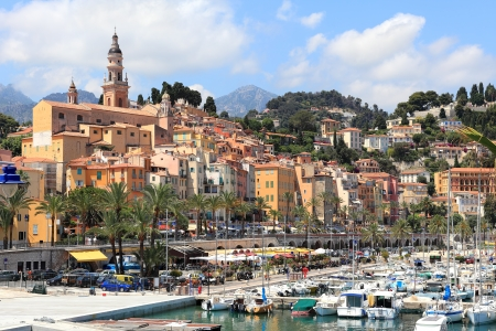 french riviera: View on old town of Menton over marina with yacht on French Riviera in France