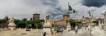 emmanuel: ROME - APR 21: Panoramic view on Piazza Venezia and National Monument of Victor Emmanuel II in Rome, Italy on April 21, 2005.