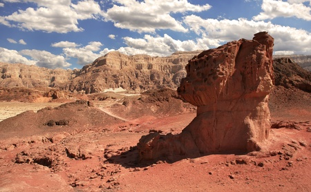 View on mushroom shaped red rock and mountains on background at Timna National Park in Arava Desert, Israel  photo