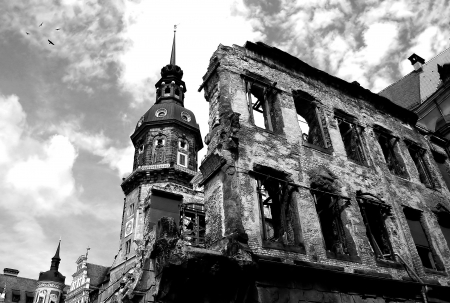Ruins and remains of World War II in Dresden, Germany