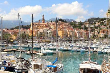 Yachts on marina and old town of Menton - popular resort on French Riviera. Stock Photo - 15171510