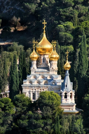 mount of olives: Vertical oriented image of Church of Mary Magdalene located on Mount pf Olives in Jerusalem, Israel  Stock Photo