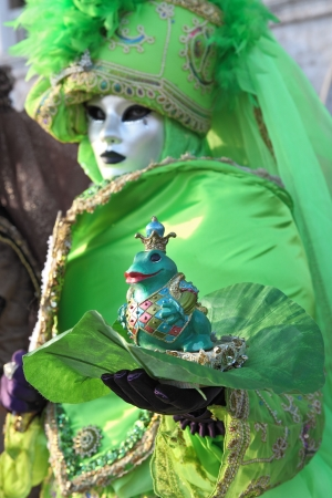 VENICE, ITALY - MARCH 04: Unidentified participant wear traditional mask and costume during famous Venetian Carnival on March 04, 2011 in Venice, Italy. Stock Photo - 17147137
