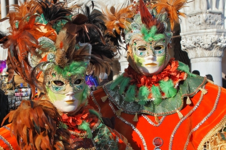 VENICE, ITALY - MARCH 04: Unidentified participants wear traditional mask and costume during famous Venetian Carnival on March 04, 2011 in Venice, Italy. Stock Photo - 17147127