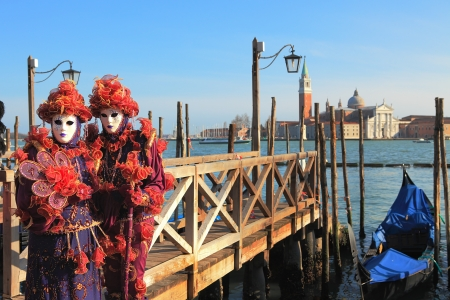 VENICE, ITALY - MARCH 04: Unidentified participants wear traditional masks and costumes during famous Venetian Carnival on March 04, 2011 in Venice, Italy. Stock Photo - 17147135