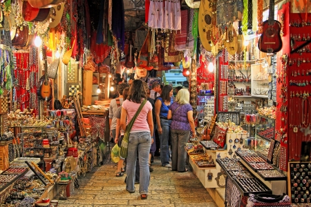 palestine: JERUSALEM - MARCH 15: Famous oriental market in old city of Jerusalem offering variety of middle east traditional products and souvenirs. Market is very popular site with tourists and palmers visiting the city in Jerusalem, Israel on March 15, 2010.