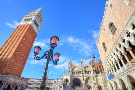 Traditional lamppost among famous Campanile, St Mark photo