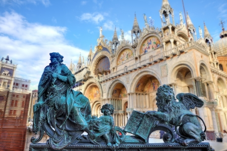 Small sculpture composition in front of famous Saint Mark