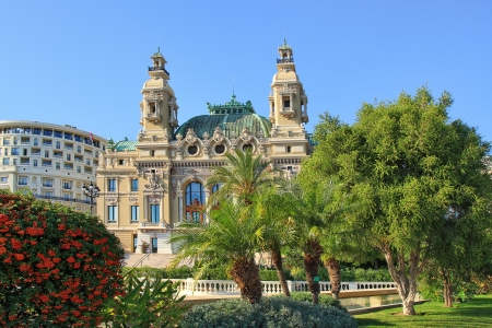 garnier: Facade of famous Opera de Monte-Carlo  Salle Garnier  as part of Monte Carlo Casino in Monaco  Editorial