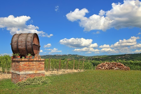 Big wooden wine barrel and vineyards under blue sky with white clouds in spring in Piedmont, Northern Italy  photo