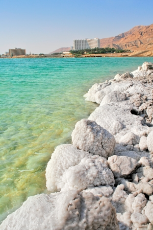 dead sea: Vertical oriented image of salt formations on the shores of Dead Sea and touristic resorts on background in Israel  Stock Photo