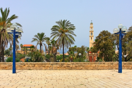 yaffo: View on belfry of St  Peter Church among trees and palms from highest point of old Yafo in Israel  Stock Photo