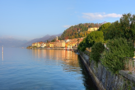 Beautiful view on small town on the shores of Lake Como in Northern Italy  photo