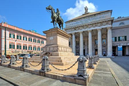 felice: GENOA - JUNE 30: Equestrian statue of Giuseppe Garibaldi - italian general, politician and central figure of Italian unification on piedestal in front of opera house (Teatro Carlo Felice) on Piazza De Ferrari the main square in Genoa, Italy on June 30, 20