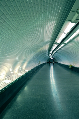 oriented: Vertical oriented photo of subway underground tunnel in Paris, France