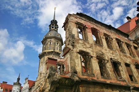 Catholic church spire and building remains after World War 2 in Dresden, Germany
