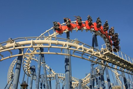 disneyland: Roller coaster loop in Luna Park, Tel Aviv  Editorial