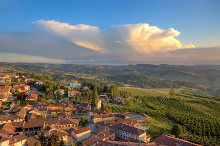 View of small typical italian town of Diano D photo