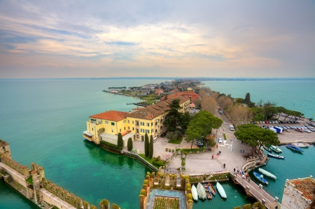 sirmione: Aerial view from Scaglieri castle on Lake Garda and town of Sirmione in Italy