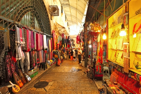 retail place: JERUSALEM, ISRAEL - AUGUST 21  Famous oriental market in old city of Jerusalem offering variety of middle east traditional products and souvenirs  Market is very popular site with tourists and pilgrims visiting the city in Jerusalem, Israel on August 21,