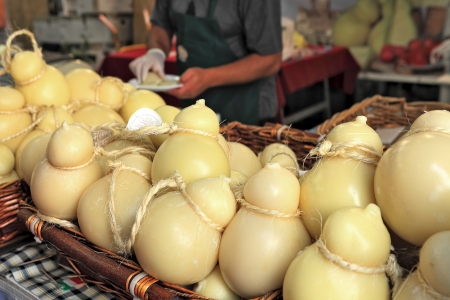 Typical Caciocavallo cheese produced throughout Southern Italy on International Cheese Festival in Bra, Northern Italy