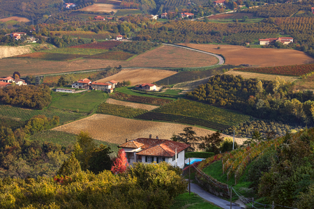 View of lone house and autumnal rural fields in Piedmont, Northern Italy  photo
