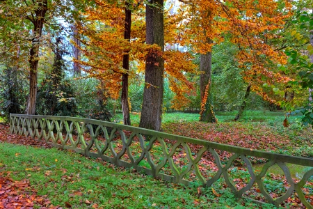 racconigi: Stone fence over small creek and trees with lush colorful foliage in autumn in Racconigi park, Northern Italy  Stock Photo