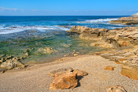Waves and rocks at Rosh HaNikra national reserve area on Mediterranean sea in Israel  photo