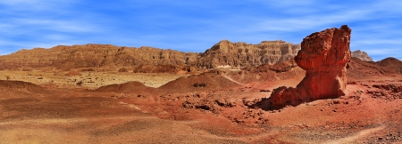geological formation: Panorama of famous mushroom shape geological formation and Arava mountains on background in Timna national park, Israel