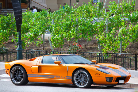 twoseater: MONTE CARLO, MONACO - JULY 13, 2013  Ford GTX1 luxury car in Monte Carlo  It is a racing version of Ford GT - american mid-engine two-seater sports car