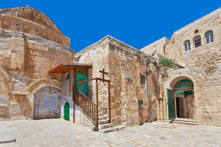 coptic orthodox: Coptic Orthodox Church courtyard situated on roof of the Church of the Holy Sepulchre in Jerusalem, Israel