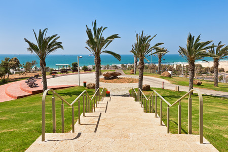 yam israel: Stone stairs in urban park with beautiful view on Mediterranean sea in Ashdod, Israel