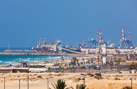 View of Ashdod seaport situated on Mediterranean sea in Israel