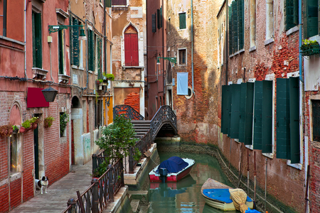 Boats on narrow canal among typical old houses with red brick walls in Venice, Italy  photo