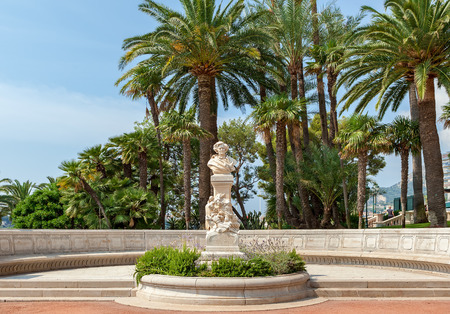 erected: MONTE CARLO, MONACO - JULY 13, 2013  Bust of famous french romantic composer and conductor Hector Berlioz in garden below the entrance to Monte Carlo Opera House  The sculpture erected in 1903 to celebrate the centenary of composer