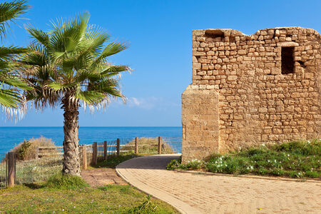 Promenade along coast of Mediterranean sea with palms and ancient tomb of unknown shah in Ashkelon, Israel
