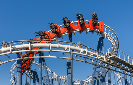 Roller coaster ride under blue sky in Luna Park  Stock Photo