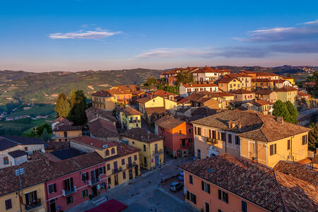 Houses at sunset in small town of Diano D photo