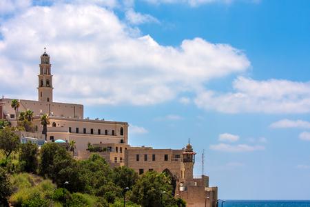 yaffo: St  Peter s church on the hill overlooking Mediterranean sea in Jaffa, Israel