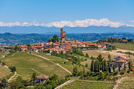 Small town on the hill surrounded by green vineyards as mountains with snowy peaks on background in Piedmont, Northern Italy  photo