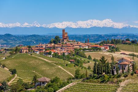 Piccola città sulla collina circondata da vigneti, verdi come le montagne con cime innevate sullo sfondo in Piemonte, Nord Italia