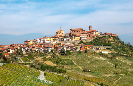 small country town: Small italian town and vineyards on the hills in early spring in Piedmont, Northern Italy