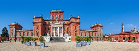 racconigi: Facade of Racconigi palace - former royal residence of Savoy house in Piedmont, Northern Italy  panorama