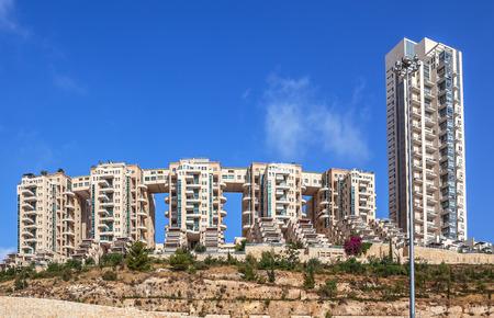 condominium complex: Contemporary residential complex under blue sky in Jerusalem, Israel.
