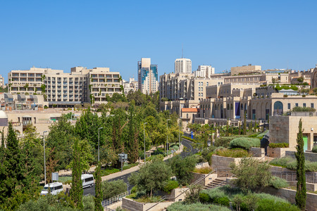 View of street and new buildings at Mamilla neighbourhood in Jerusalem, Israel.