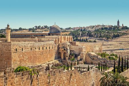 al aqsa: Minaret and dome of Al-Aqsa Mosque surrounded by ancient walls in Jerusalem, Israel.